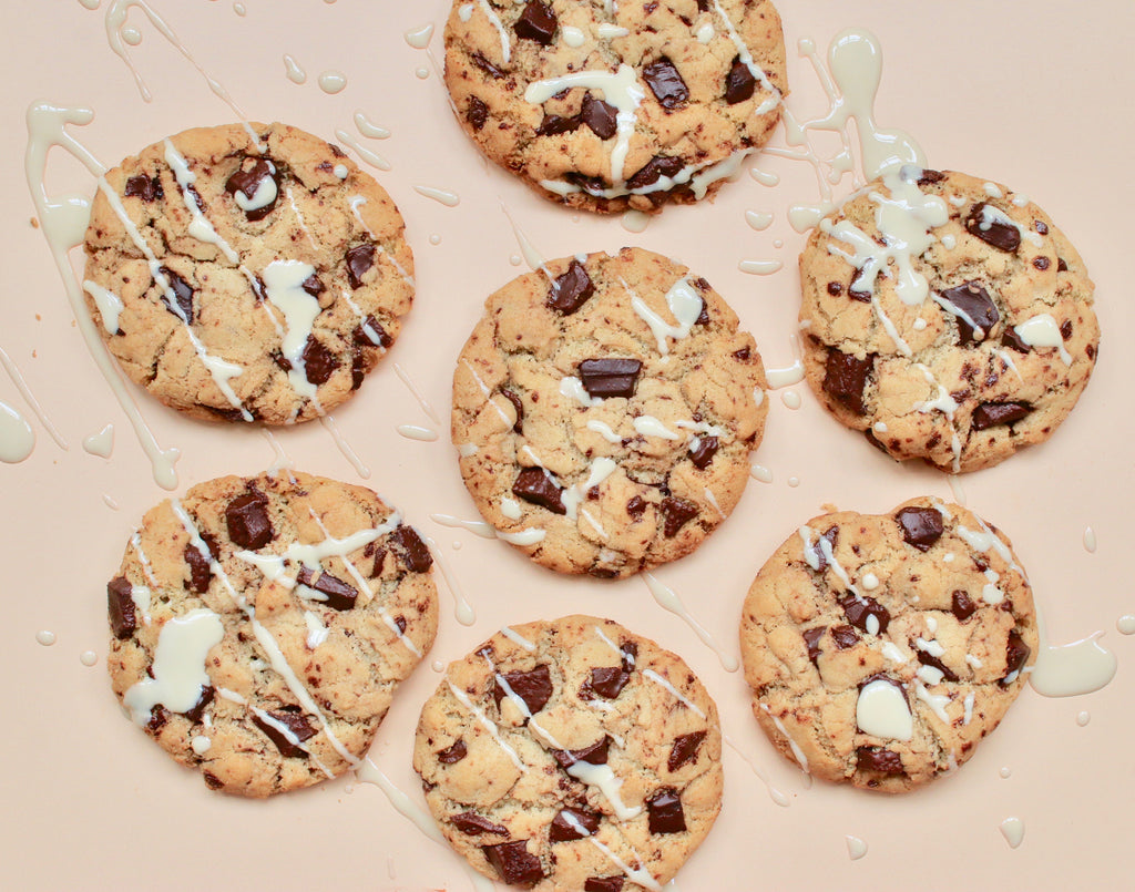 Chocolate chip + sesame butter cookies