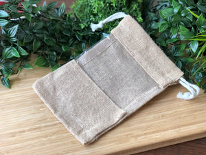 Large Jute Window Drawstring Bag 25x16cm