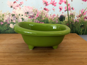 Mini Ceramic Bath Tub - Lime Green