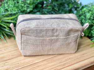 Natural Jute Wash Bag with side pocket
