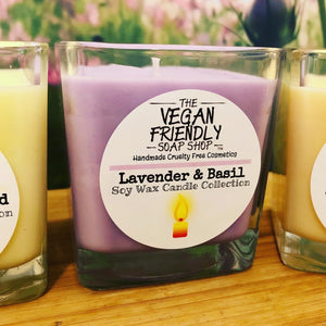 Lavender & Basil - Natural Soy Wax Candle with Bamboo Gift Box