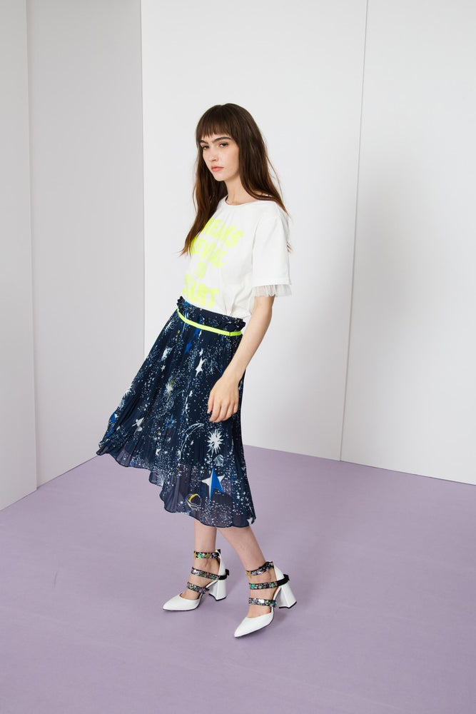 Starry Night Pleated Skirt