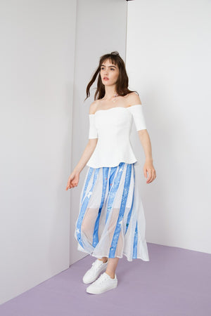 Starry Night Mesh Panels Skirt - AMENPAPA Fashion