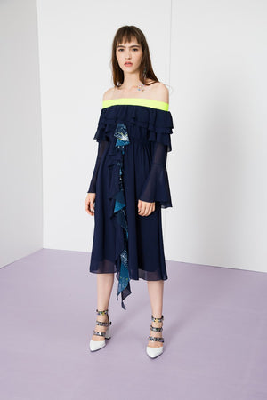 Off Shoulder Ruffles Chiffon Dress - AMENPAPA Fashion
