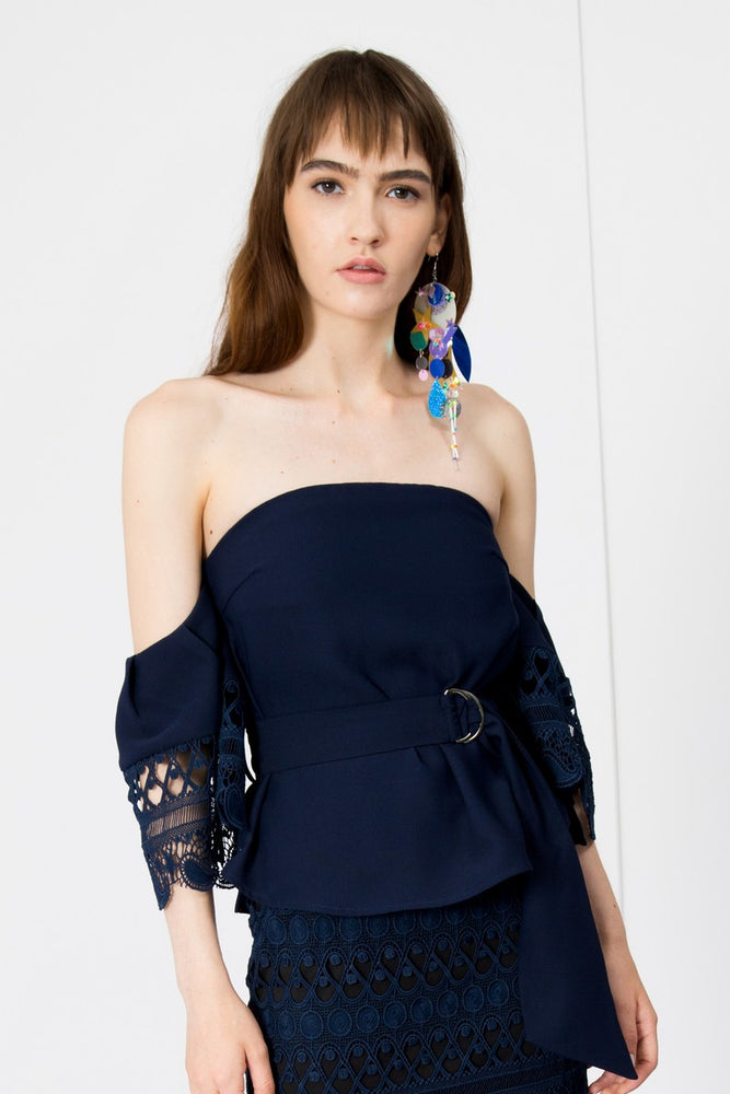 Stars Lace Sleeves Off Shoulder Belted Top