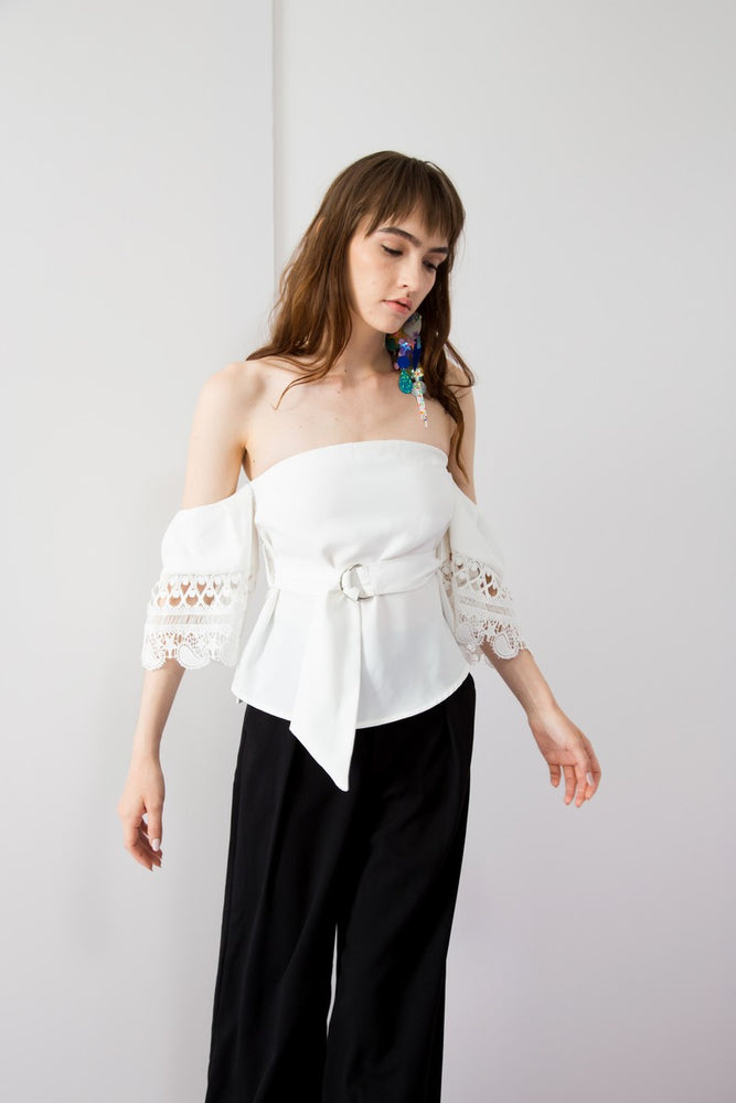 Stars Lace Sleeves Off Shoulder Belted Top - AMENPAPA Fashion