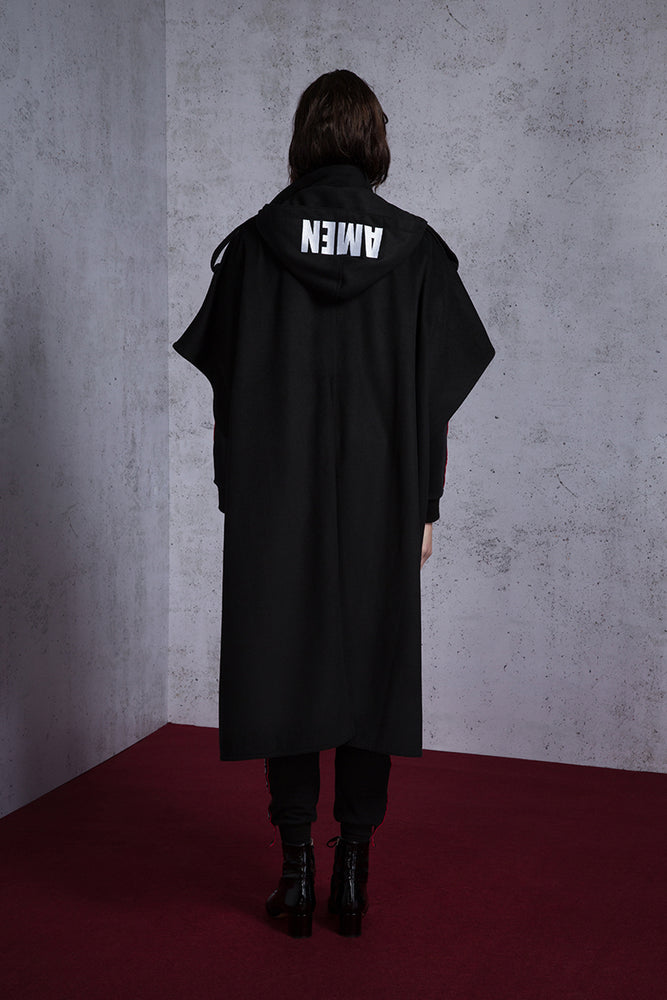 AMEN Embroidery Hooded Wool Blend Cape - AMENPAPA Fashion