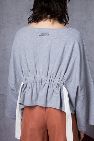 Drawstring-Waist Sweat Crop Top - AMENPAPA Fashion