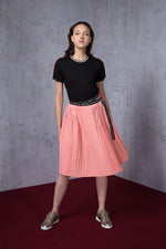 AMEN Tape Trimmed Pleated Wrap Skirt