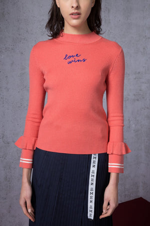 Love Wins Embroidered Turtleneck Sweater - AMENPAPA Fashion