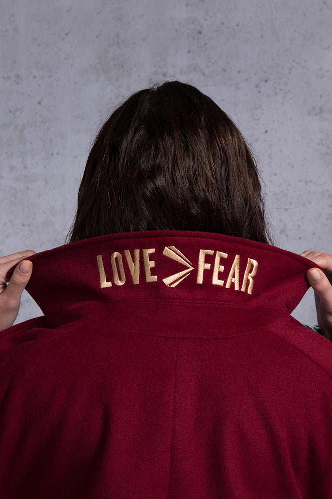 Love>Fear Embroidery Wool Blend Coat