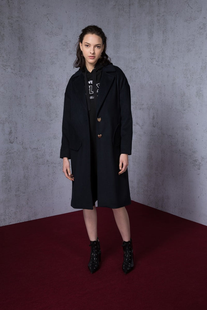 Love>Fear Embroidery Wool Blend Coat - AMENPAPA Fashion