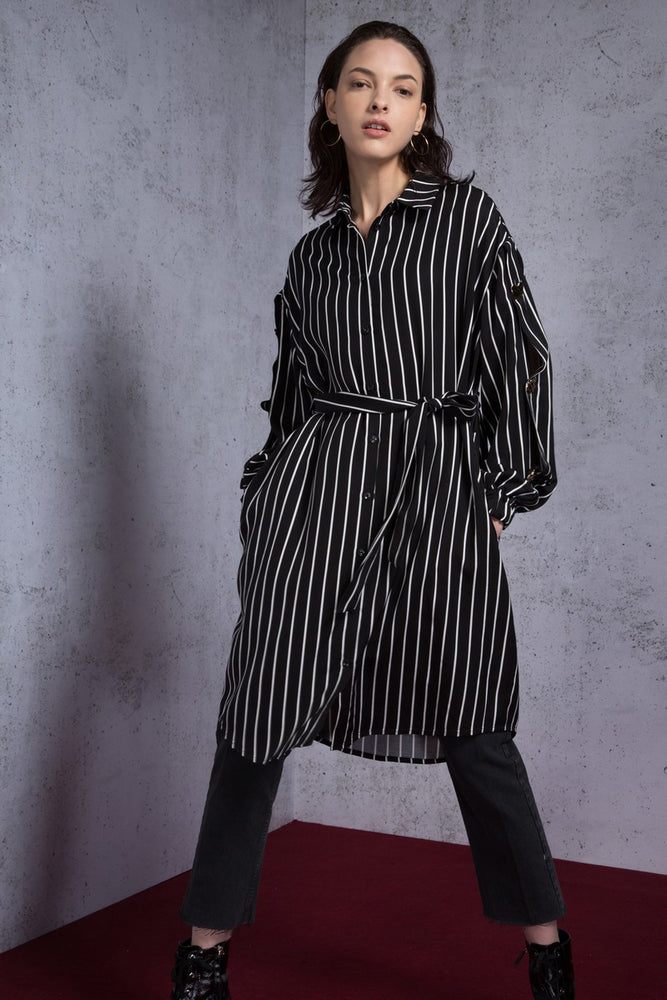 Striped Draped Pique Midi Dress - AMENPAPA Fashion