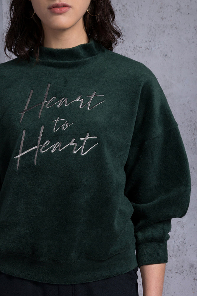 Heart to Heart Embroidery Fleece Top - AMENPAPA Fashion