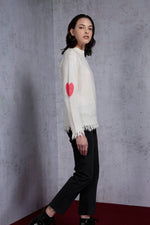 Turtleneck Heart Intarsia at elbow Sweater - AMENPAPA Fashion