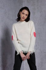 Turtleneck Heart Intarsia at elbow Sweater