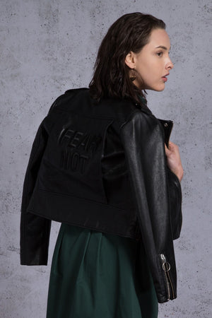 Fear Not Embroidery Faux Leather Biker Jacket - AMENPAPA Fashion