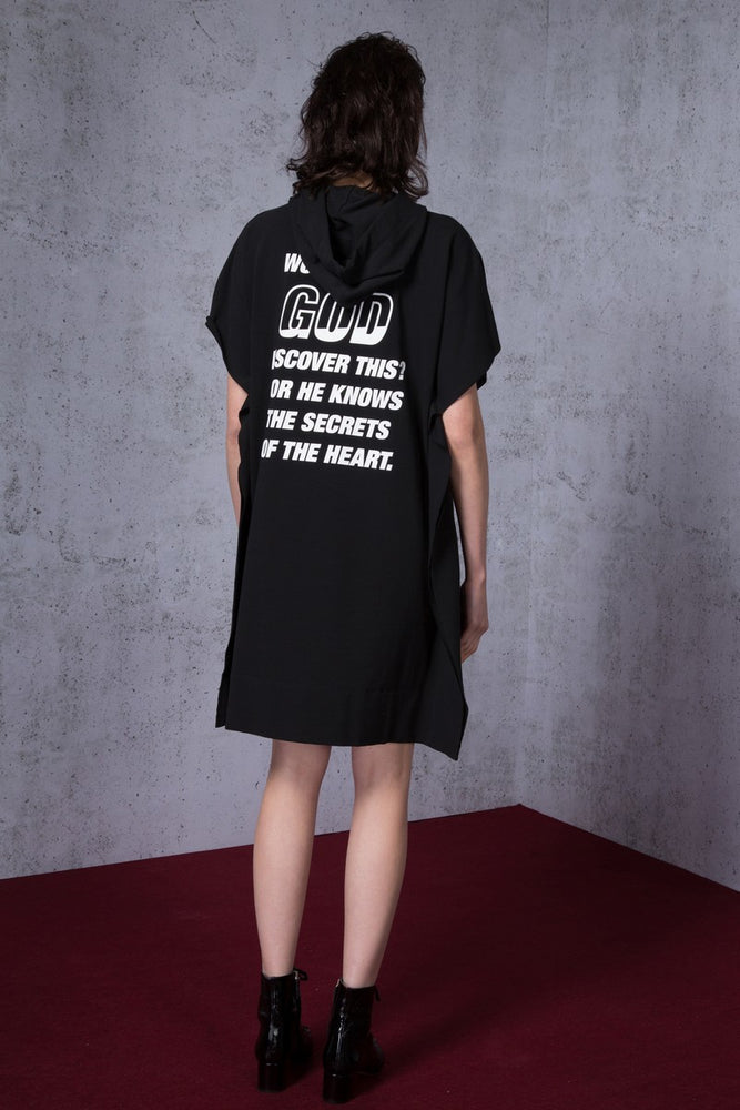 Hoodie God Knows Printed Cotton Jersey Dress - AMENPAPA Fashion