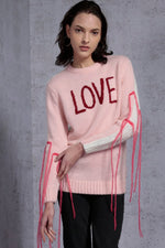 Fringed Love Embroidered Sweater
