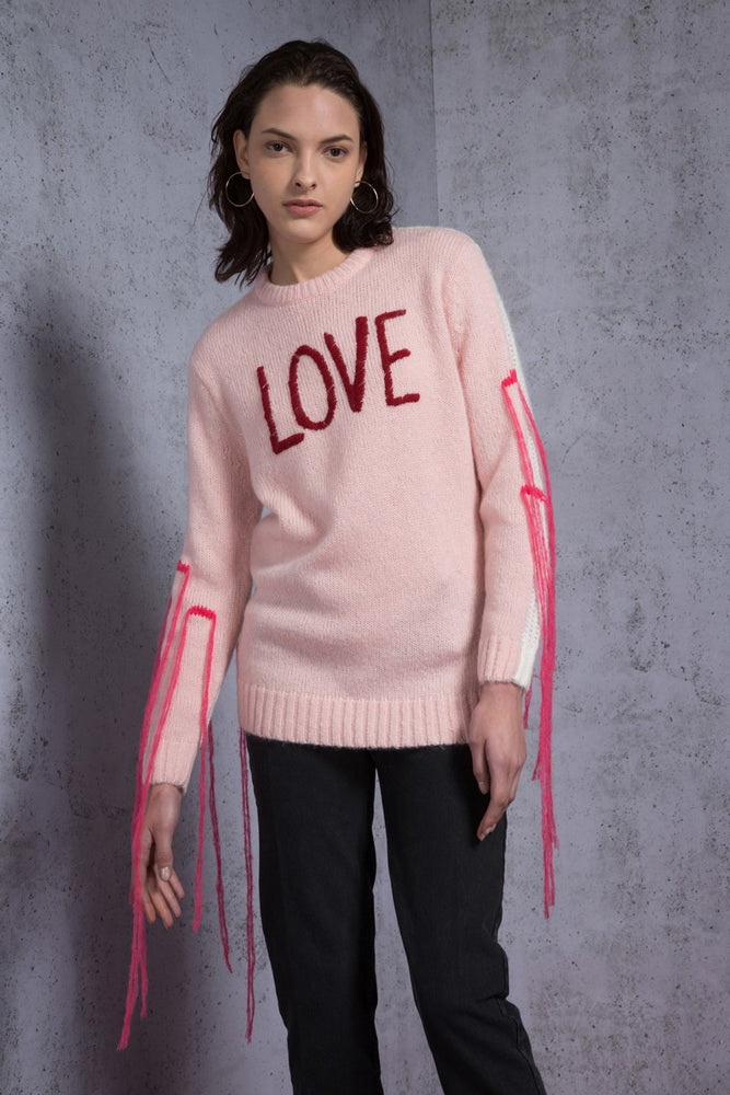 Fringed Love Embroidered Sweater - AMENPAPA Fashion