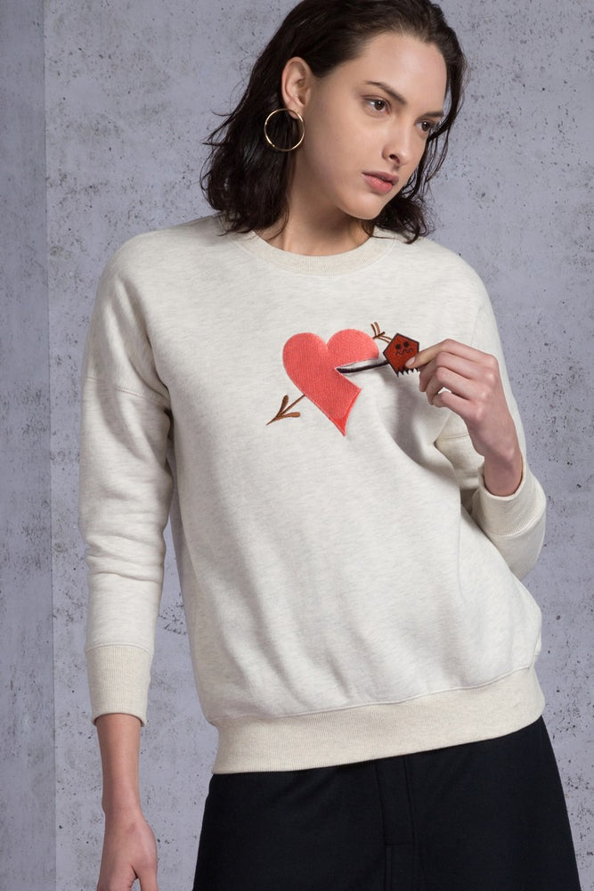 Heart Appliqued Fleece Sweatshirt - AMENPAPA Fashion