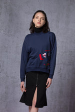 Love Embroidery Side Slits Sweatshirt