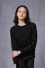 Button Embellished Sweatshirt - AMENPAPA Fashion