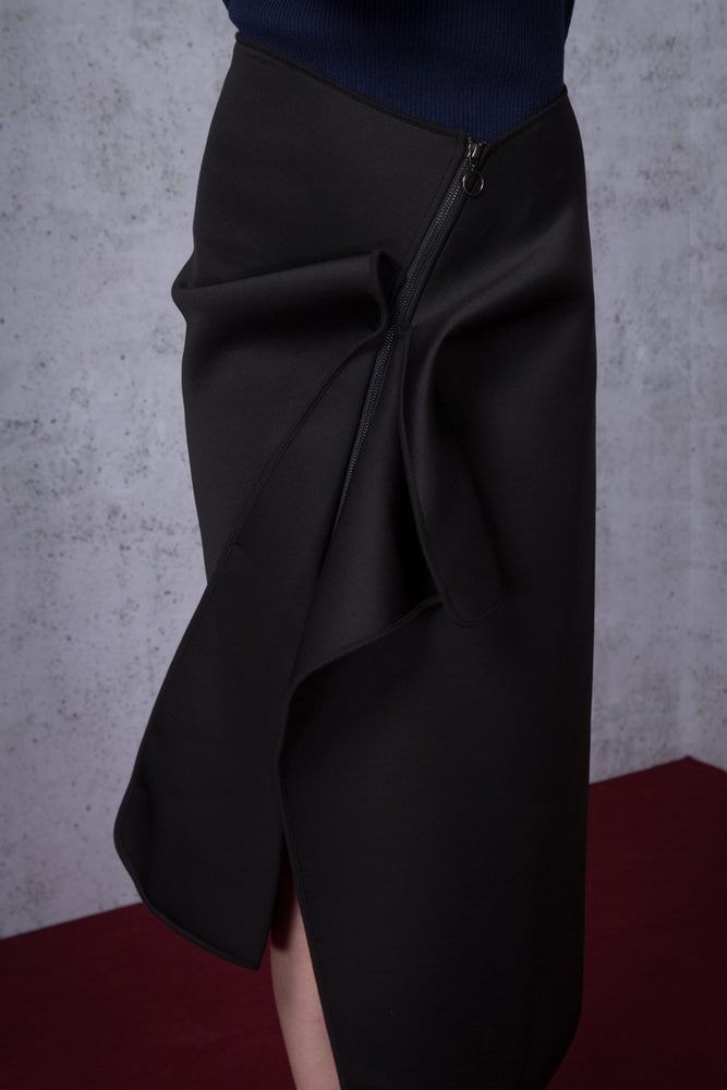 Asymmetric Ruffled Neoprene Maxi Skirt - AMENPAPA Fashion