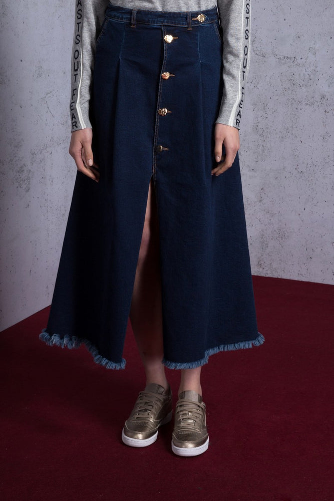 Button Detailed Denim Maxi Skirt - AMENPAPA Fashion