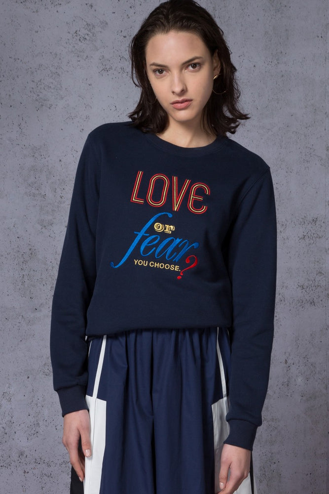 Love>Fear Slogan Embroidered Sweatshirt