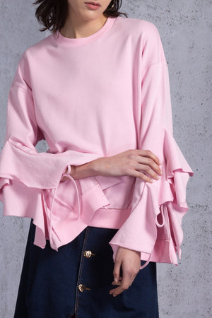 Ruffled Cuff Sweatshirt - AMENPAPA Fashion
