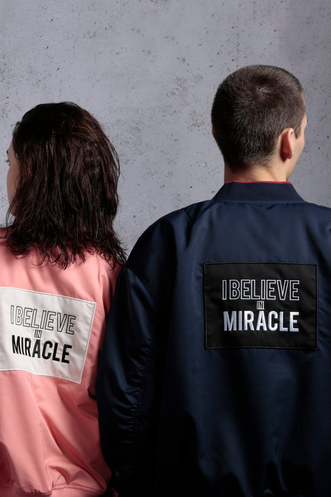 Believe in Miracle Patchwork Padded Bomber Jacket