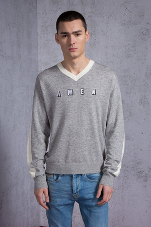 AMEN Embroidered Two Tone Sweater - AMENPAPA Fashion
