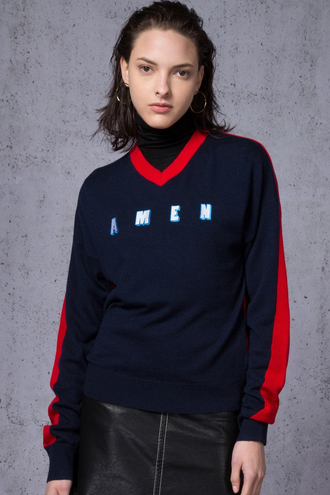 AMEN Embroidered Two Tone Sweater