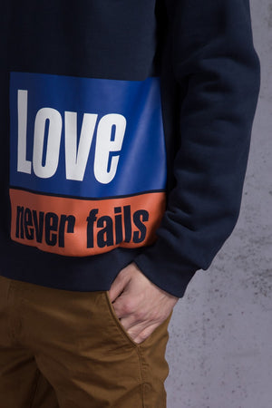 Love Never Fails Printed Sweatshirt - AMENPAPA Fashion