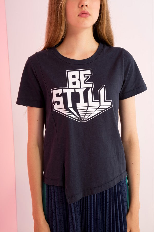 Be Still Printed Asymmetric Tee - AMENPAPA Fashion