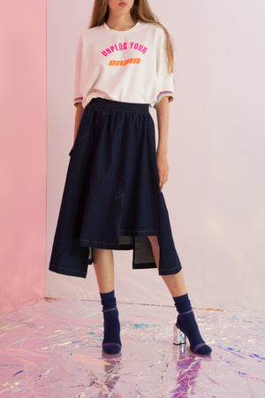 Asymmetric Rainbow Streamers Denim Skirt