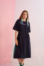 God Knows Embroidered Cinch Waist Dress