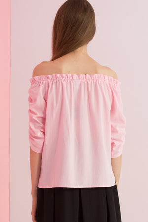 Off Shoulder Ruched Sleeves Top - AMENPAPA Fashion