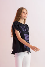 Oversized Jesus Printed Draped Top