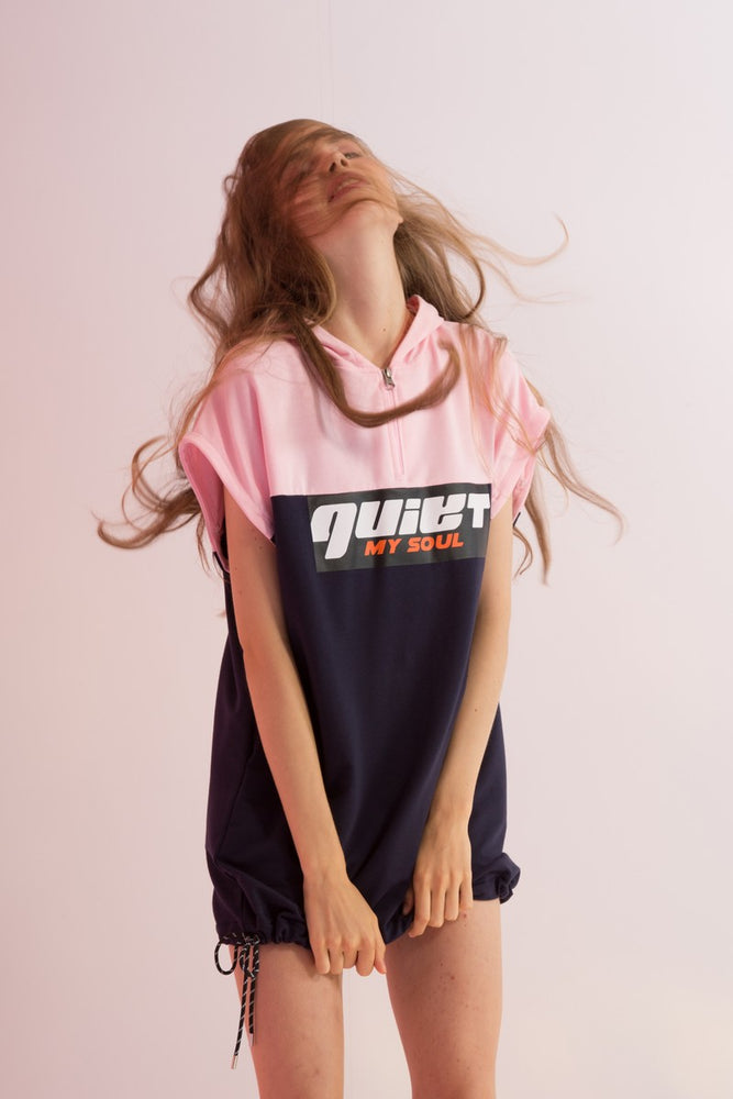 Quiet My Soul Oversized Dress with Detachable Sleeves - AMENPAPA Fashion