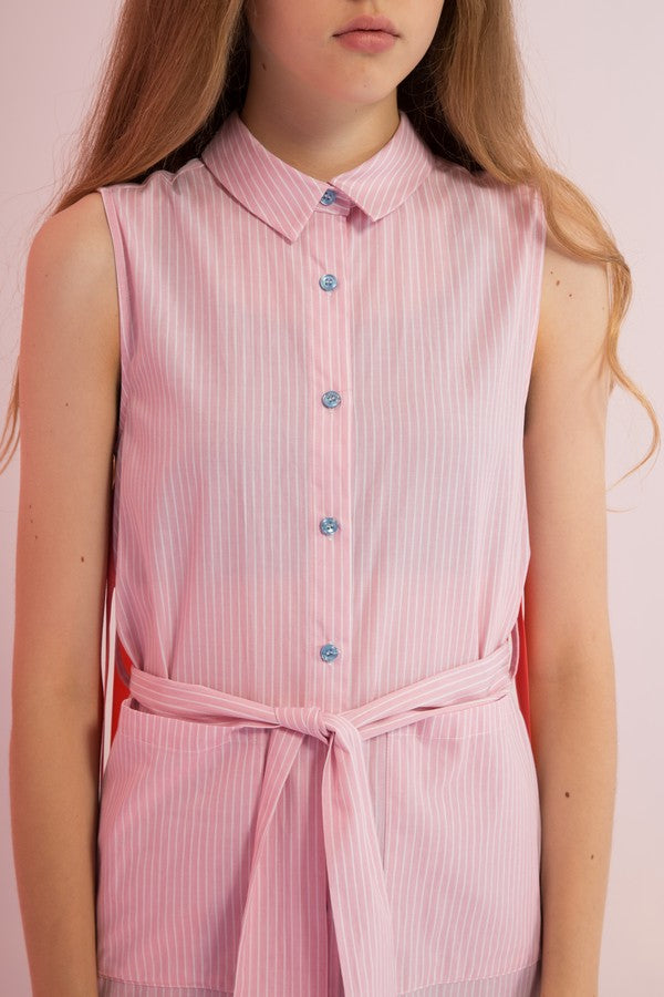 Belted Striped Shirtdress with Back Streamers - AMENPAPA Fashion