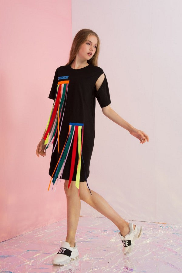 Detachable Rainbow Streamers Jersey Dress - AMENPAPA Fashion