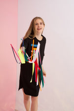 Detachable Rainbow Streamers Jersey Dress
