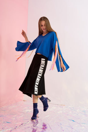 V-Neck Sweater with Rainbow Streamer Sleeves - AMENPAPA Fashion