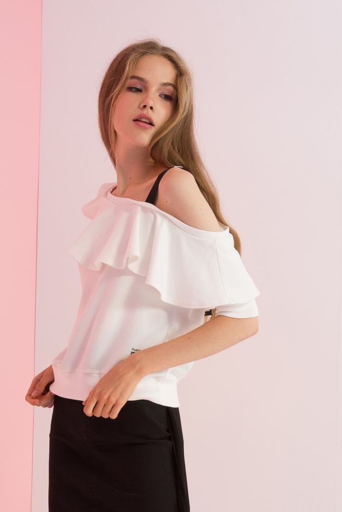 One Shoulder Ruffle Jersey Top