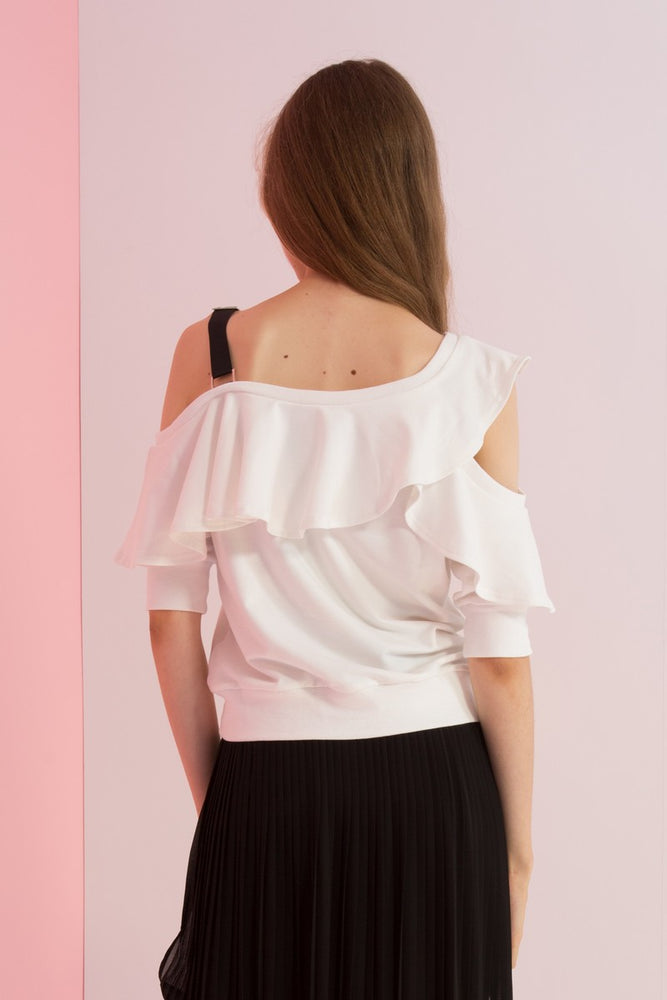 One Shoulder Ruffle Jersey Top - AMENPAPA Fashion