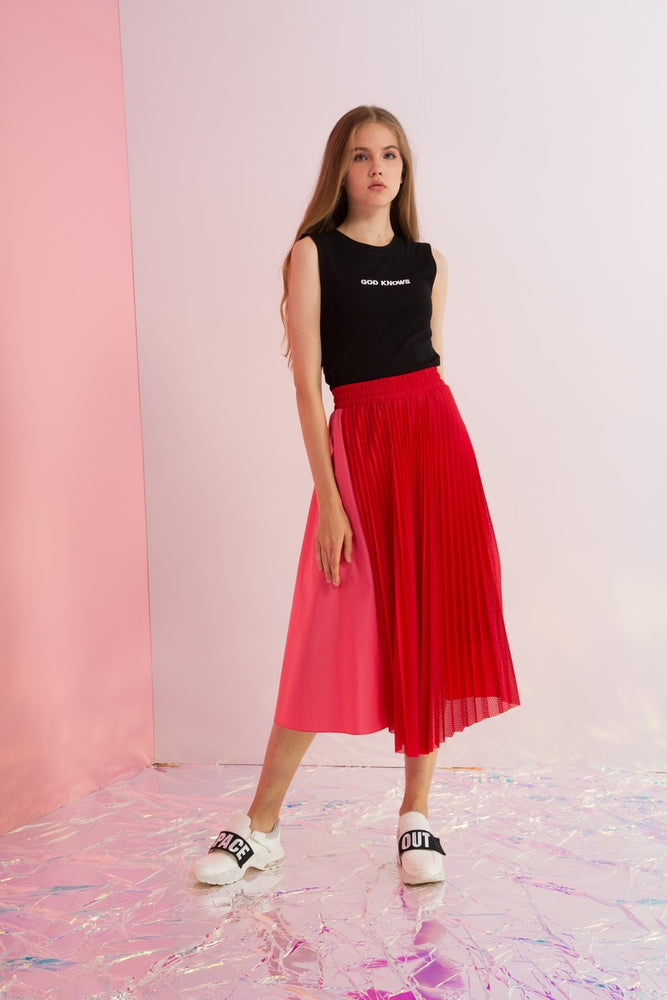 Pleated Mesh Paneled Maxi Skirt - AMENPAPA Fashion