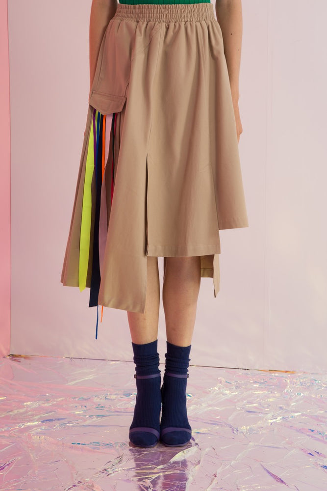 Asymmetric Rainbow Streamers Skirt - AMENPAPA Fashion