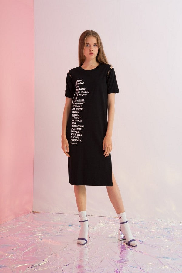 Blessed Printed Block of Text Jersey Dress - AMENPAPA Fashion